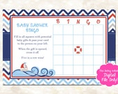 Nautical Baby Shower Bingo Card, Printable Baby Shower Game, Ahoy It's A Boy Baby Shower Theme, Digital Download Baby Shower Package, D004