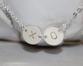 Hugs and Kisses necklace, XO necklace, hand stamped necklace, love necklace, gift