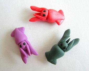 Miniature Squid Clay Sculptures