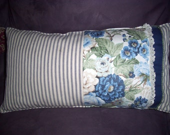 Primitive Country Pillow, Farm House, Blue Ticking, Vintage Country,Handmade, Home and Living, Home Decor,  Summer Trends, Cottage Chic