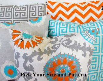 THROW PILLOWS Aqua Blue Turquoise Decorative Throw Pillows  Orange Gray pillows  Chevron Euro Shams .ALL Patterns. Cushions