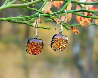 Orange dichroic glass earrings with sterling silver hooks