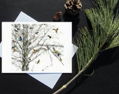 Karri Jamison 1 GREETING CARD, Title: Warblers In The Spring, on paper 5x7 inches