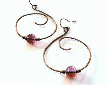 Copper spiral hoops