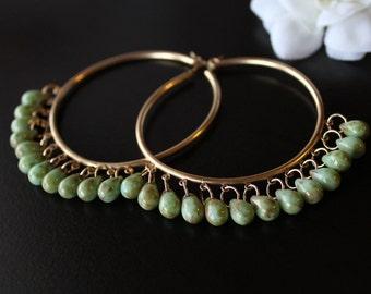 Huge 14K Gold Filled Hoop Earrings, Green Czech Glass Bohemian Earrings, Oversized Fringed Hoop Earrings, Apple Green, Bohemian Jewelry