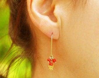 Gold earrings, coral earrings, red earrings, pomegranate earrings, pomegranate jewelry, wire wrapped earrings, red earrings , dangle