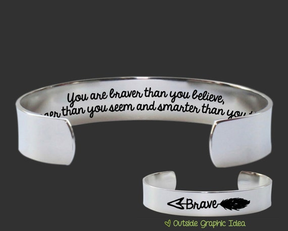 Inspirational Jewelry | Gifts for Friends | Daughter Gift | Sister Gifts | You are braver | Custom Personalized Bracelet Korena Loves