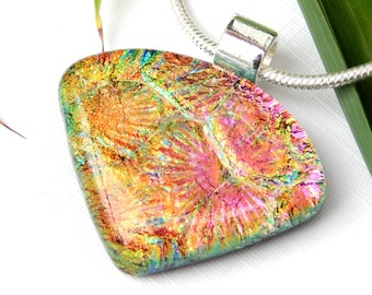 Golden Pink Dichroic Glass Pendant - Fused Glass Jewelry - Sunrise Sunset Colours Art Glass Necklace