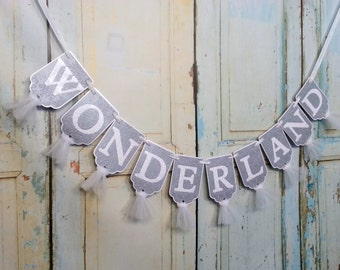 Wonderland Banner, Embossed Silver and White Banner with Tulle, Winter Wonderland Decoration, Merry Christmas Decoration, Holiday Banner,