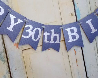 Happy Birthday Banner, Embossed Blue and Silver Banner, 30th, 40th, 50th, Adult Birthday Decorations, Year Customizable Name Banner Optional