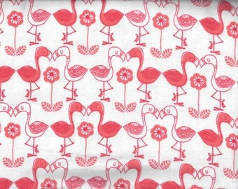 Flamingos flannel fabric - pink white  - Camelot Fabrics - by the YARD