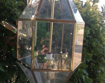 VINTAGE 3 LIGHT GLASS brass chandelier hanging ceiling fixture