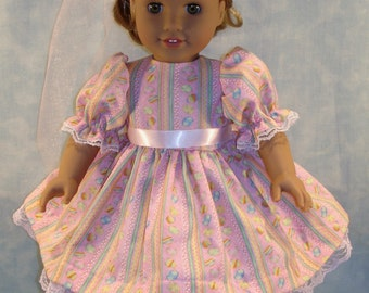 18 Inch Doll Clothes - Easter Eggs on Pink Dress and Hat handmade by Jane Ellen to fit 18 inch dolls