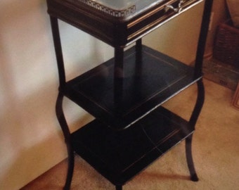 Antique side table dark brown drawer two shelves