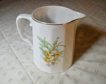A Vintage Pitcher by K T & K China with Daffodils