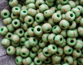 2/0 Czech Glass Aged Green Yellow Striped Travertine - 2/0 Aged Green Yellow Striped Travertin - 20 Grams - 2797