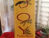 Primitive Handmade Joy to the World Wood Christmas Sign