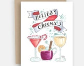 Holiday Cheer Card - Modern Holiday Cards - Christmas Card - Christmas Party - Holiday Cheers - Hand Lettering - Illustration Card