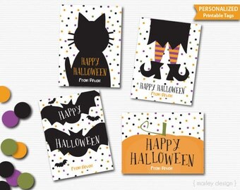 Halloween Tags Printable Personalized Tags Kids Halloween Tags Favor Tags Halloween Treats Witch Bats Pumpkin Cat Halloween Favors 4 Designs