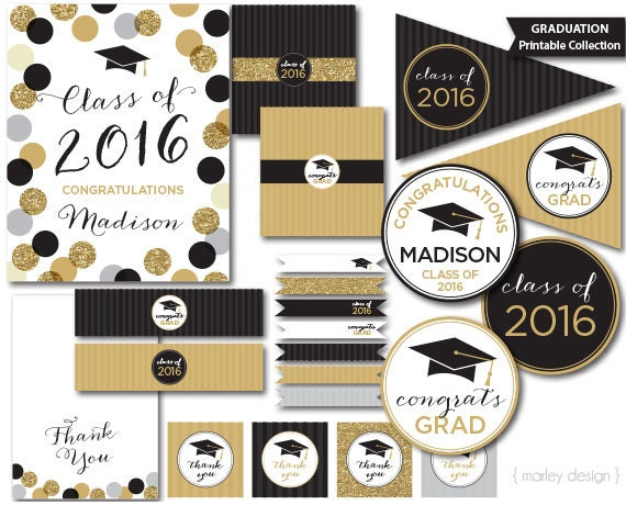 Graduation Party Decorations Black Gold Glitter on oscar cupcakes design