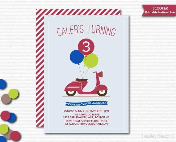 Scooter invitation birthday party printable invite boys birthday il570xn stopboris Images