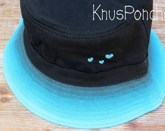 CRAZY SALE 30% OFF - Bucket Hat Vintage old school style - Black & Tie Dye Turquoise - Hand printed Hearts - Modern - for women