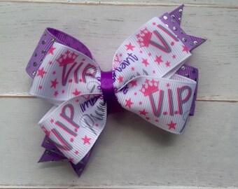 Princess VIP ribbon boutique Hairbow Barrette