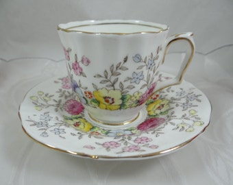 1930s Hand Painted Vintage English Crown Staffordshire Demitasse Cappuccino Teacup and Saucer