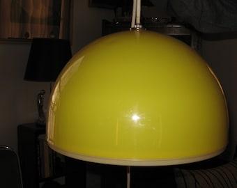 SALE 1960s Yellow Domed Plastic Pendant Ceiling Light
