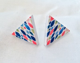 Earrings triangular, wooden rod, multicolored, very light, wood triangle earrings, multicolored, very light