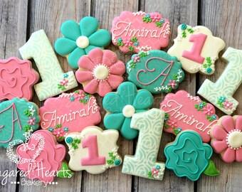Floral Birthday Flower Shabby Chic Cookies - 1 Dozen
