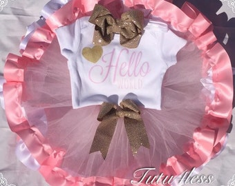 Beautiful Sparkly gold, pink tutu set. Perfect for pictures