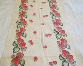 Vintage strawberry fabric, cotton linen, mid century