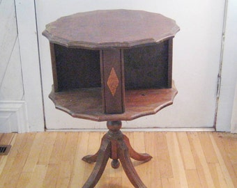 Antique side table, vintage end table, round table, rotating compartment table, Victorian table, pedestal table,  1342