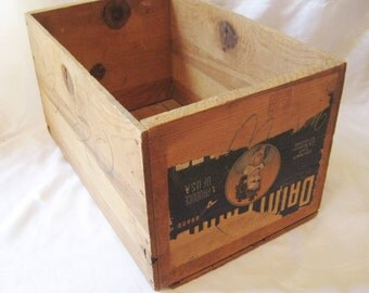 Large fruit box, wood crate, vintage box, wood bin, storage box, mid century, distressed rustic box
