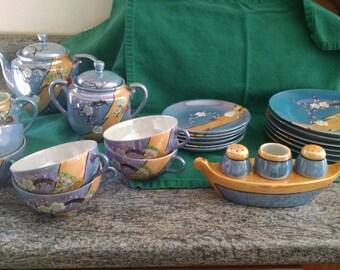 Vintage 27 Piece Moriage Lusterware Tea Set