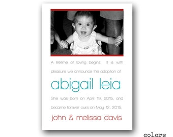 Birth Announcement - Adoption Announcement - Photo - Personalized - Digital