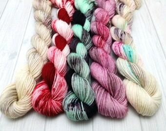 "Hand dyed ""Desserts"" sock yarn mini skein set"