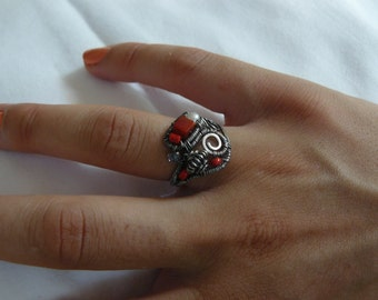 Coral - Sterling Silver – Ring - Wire Wrapped - size 8