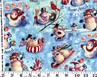 1 yard, Looking Up Snowman Glitter CP40695 Goeff Allen for Creative Springs