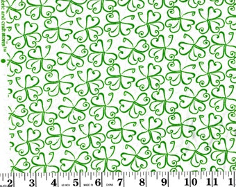1 Yard, Green Clovers on White Cotton