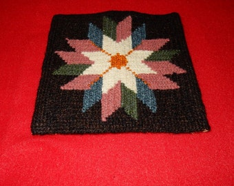 Swedish hand embroidered wall hanging 1950s / star