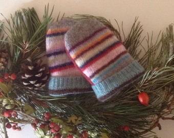 Baby mittens // Upcycled wool // stripe recycled sweater // Toddler 1 to 2T // UK seller