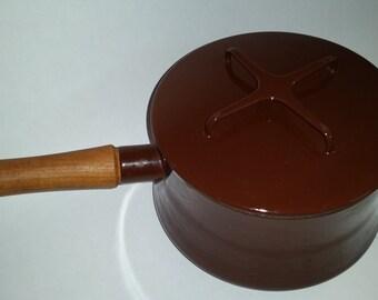 Vintage Dansk Kobenstyle Sauce Pan Brown Enamel Teak Handle Mid Century Modern Design Made in France 70's French Cookware
