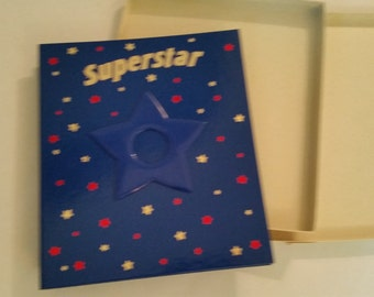 1980's Scrapbook NOS Blank Book for Scrapbooking Vintage Photo Album Made by Hallmark  Original Box Superstar Theme