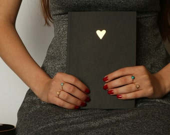 Blank journal ,writing journal, journal diary , black sketchbook  with Gold heart