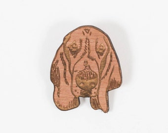 Mollie, the Basset Hound ~ wooden brooch - gift for dog lovers