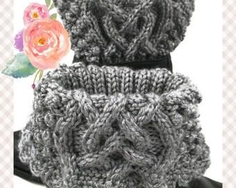 Irish Celtic Knot Boot Cuffs Womens Gray Heather Caron Simply Soft