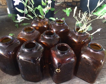 vintage amber bottles, snuff jars, amber glass, brown bottles, wedding bottles, bottle collection