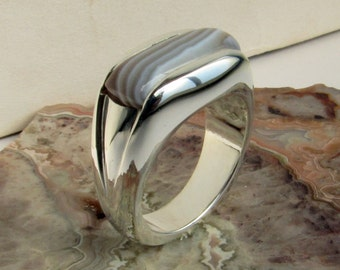 Big Bold Botswana Banded Agate Ring, Size 10.0, Custom cut Cabochon 19x10mm, Channel set east west across finger. Hand carved, set, by Kris